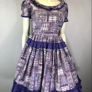 1950's Vintage Purple Novelty Swing Pinup Dress